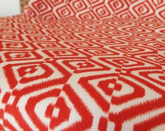 Red & White Fabric Mid Century Patterned Fabric Cotton Poly Blend Fabric Vintage 1960's Fabric Mid Weight Upholstery Fabric Suiting Fabric
