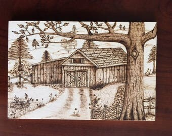 "Woodburned Barn Scene with Stand - 4""x6"" Pyrography"