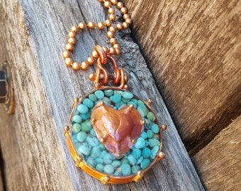 Copper Heart Necklace - Turquoise - Cowgirl Jewelry - Ball Chain - Cowgirl Necklace - Boho - Rustic Jewelry by Heart of a Cowgirl