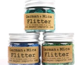 Mica Flakes Set -Green Turquoise, Navy Blue, Dark Green mica flakes art glitter craft glitter artist glitter -Set-2M - 311-M-0702