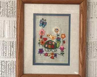 "Vintage Crewel Embroidered Needlepoint Turtle Flowers Framed 11.5"" by 9.5"""