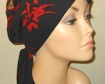 Asian Themed  Chemo Scarf, Hat, Cancer Hat, Hijab, Alopecia