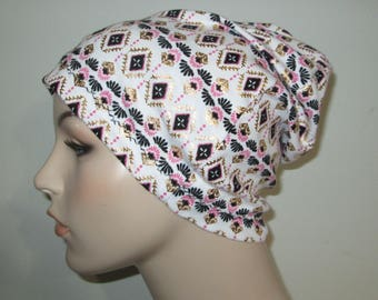Aztec Print Slouch Chemo  Beanie  Hat Hat Play Sleep Cap, Cancer Hat, Alopecia Jogging