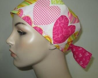 Chemo Hat FREE Ship Big Hearts Pediatric Scrub Cap OR Cap Nurses Cap Surgical Cap  Adjustable Chemo Hat