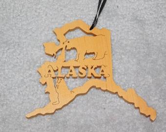 Wood State Ornament - Alaska