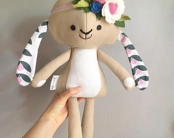 Navy and pink bunny doll with flower crown / Peluche lapin rose et marine avec couronne de fleurs