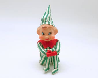 Vintage Christmas Decoration Pixie Elf Knee Hugger Good Luck