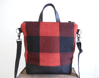 Wool plaid, black canvas crossbody tote bag - repurposed Buffalo check camp blanket -  eco vintage fabrics