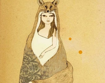 Sale Foxy Girl print of original drawing