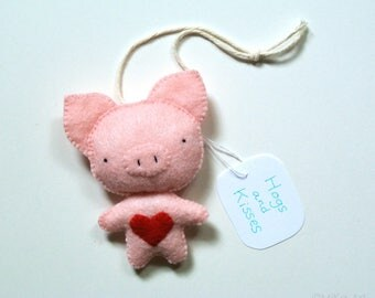 Pig Ornament Funny Gift Cute Pig Felt Pig Handmade Stuffed Animal Hogs and Kisses Cute Animal Pun One of A Kind Pig Wall Hanging Home Decor