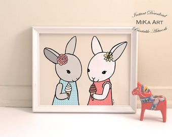 Bunny Print Nursery Wall Decor Rabbit Art Cute Bunny Rabbit Baby Animal Nursery Printable Girls Nursery Children's Art Instant Download MiKa