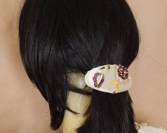 CLEARANCE - CLEARANCE Beaded barrette, fabric barrette, oval barrette, hair accessory, fashion accessory