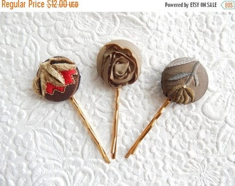 CLEARANCE - 3 olive hair-pins, embroidered hairpins, fabric hairpins, 1 1/8 inch hairpins, hair accessory, womens accessory
