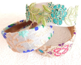Bright floral embroidered wide fabric headbands, headbands for women, hair accessory,