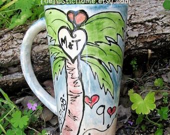 Palm tree Custom wedding mug ceramic pottery anniversary gift beach ocean tropical love initials tree mug palm trees wedding date tropical