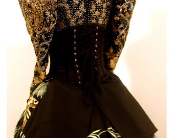 Black Brocade - Under Bust Corset Waist Cinch Costume