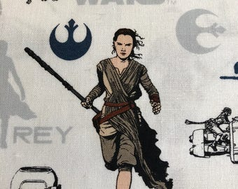 Star Wars Fabric: Star Wars The Force Awakens - Rey on the Run - White - Fabric by the yard