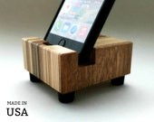 iPhone Stand - Charging Stand - Unique Wooden Smartphone Display - Repurposed Wood