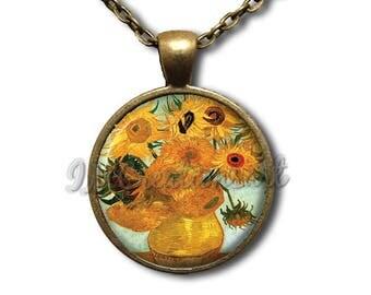 Van Gogh's Sunflowers Glass Pendant Necklace Square Round AP163