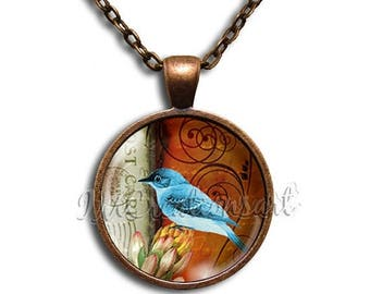 20% OFF - Blue Jay Bird - Round Glass Dome Pendant or with Necklace by IMCreations - AN119