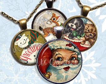 Vintage Christmas Glass Pendant Necklace Jewelry Bundle Gift Party Favors Grab Bag Bulk Discount