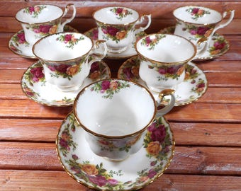 Vintage Tea Cup And Saucers With Roses Set Of 6/Royal Albert Old Country Roses Pattern,Circa 1962/Wedding Bone China/Tea Party