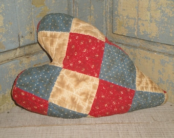 LARGE Old Quilt Heart Fabric Stuffed | Vintage Quilt Heart | Antique Quilt Heart | Primitive Quilt Heart | Red White Blue Old Quilt Heart