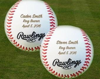 Ring Bearer Gift, Engraved Baseballs, Set of 3 Baseballs,Groomsmen, Birthday, Christmas Gift, Keepsake,