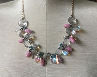 Mermaid Pink Japanese Glass Beads Vintage Chandelier Crystals Pearls Blue Iridescent Necklace