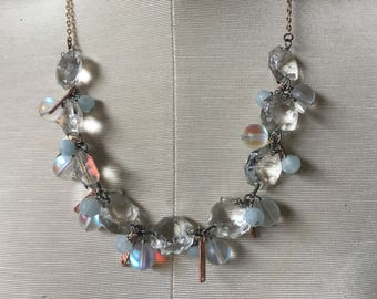 Mermaid Clear chandelier Crystals Blue copper Rose gold Pearl Necklace