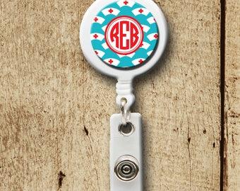 Monogram Retractable ID Badge Holder, RN badge holder, nurse hat, badge reel, medical professional, doctor