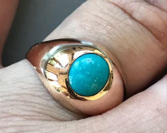 18K Gold Turquoise Gipsy Set Ring