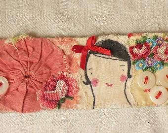 CUFF Bracelet.  Textile - hand painted girl and applique