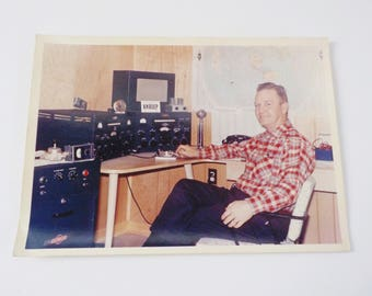 Vintage Color Photo Ham Radio Operator 1961 • 1960's Photo Man at a Radio Desk • Vintage Man at Work Photograph