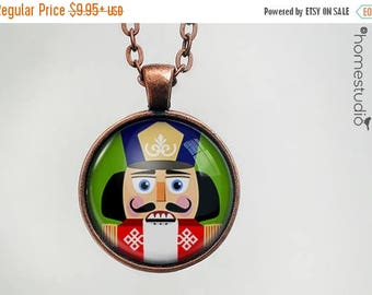 ON SALE - Nutcracker : Glass Dome Necklace, Pendant or Keychain Key Ring. Gift Present metal round art photo jewelry by HomeStudio