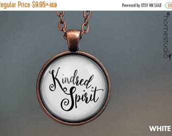 ON SALE - Kindred Spirit Quote jewelry. Necklace, Pendant or Keychain Key Ring. Perfect Gift Present. Glass dome metal charm by HomeStudio
