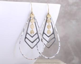 Teardrop Dangle Earrings Mixed Metal Earrings Sterling Gold Black Earrings Hammered Chevron Drop Earrings Long Dangle Earrings Gift For Her