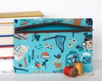 Secret Garden Handmade Zipper Pouch Accessory Case - Organic Cotton
