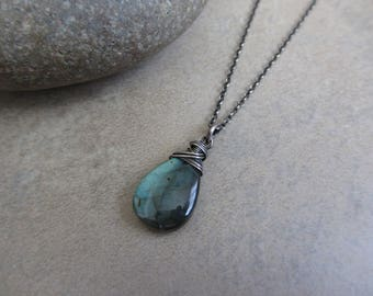 Blue Green Labradorite Oxidized Silver Necklace, Sterling Silver, Blue, Green, Wire Wrapped, Large, Pendant, Irisjewelrydesign