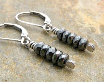 Hematite Earrings, Sterling Silver Lever Back Ear Wires, Hematite Dangle Earrings, Dark Gray Stone, Everyday Earrings for Women, #4722