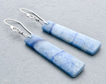 Blue Jasper Earrings, Dragon Vein Jasper, Rectangle Gemstone Dangle Earrings, Sterling Silver, Light Demin Blue, #4830