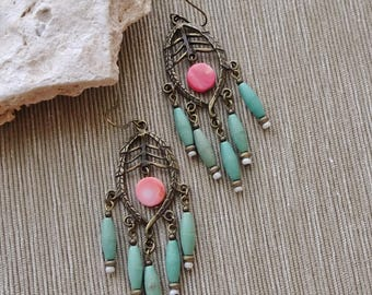 Beaded Antique Brass Chandelier Earrings, Turquoise Magnesite Bead Earrings, Coral Bead Earrings, Boho, Hippie, Long Earrings, Tribal
