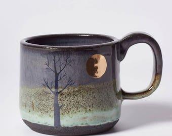 Dark Gold Moon and Tree Mug