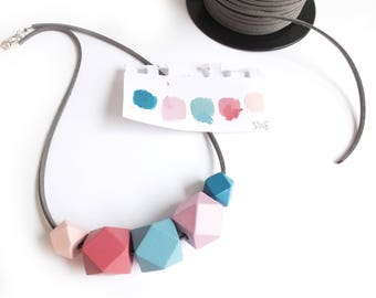 Geometric Necklace, Wooden Necklace, Hexagon Jewellery, Hexagon Necklace, Valentines Day, Mothers Day Jewellery, Pink and Blue, Pastel