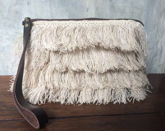 Free shipping Bohemian hemp fringe crochet purse, bag, pouch