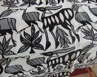 "African Korhogo Animal Print Fabric Fat Quarter - 22"" X 18"" Black and White 100 Percent Cotton"