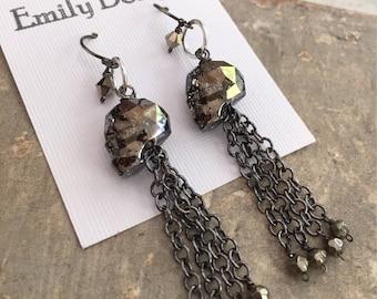 Swarovski crystal skull earrings black and silver