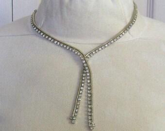 Swarovski Necklace . rhinestone lariat . rhinestone necklace . Y necklace