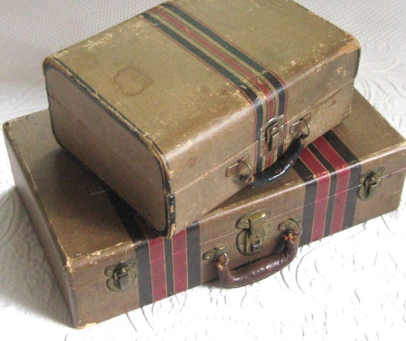 Vintage cardboard suitcase . vintage suitcase . paper lined