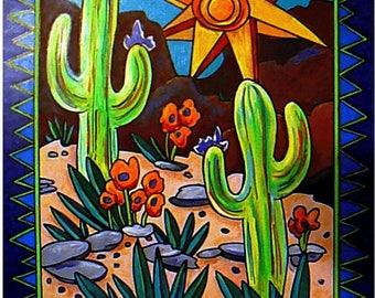 Desert Art - Southwest Art - Art Print - Cactus Art - Wall Art - Leah Reynolds